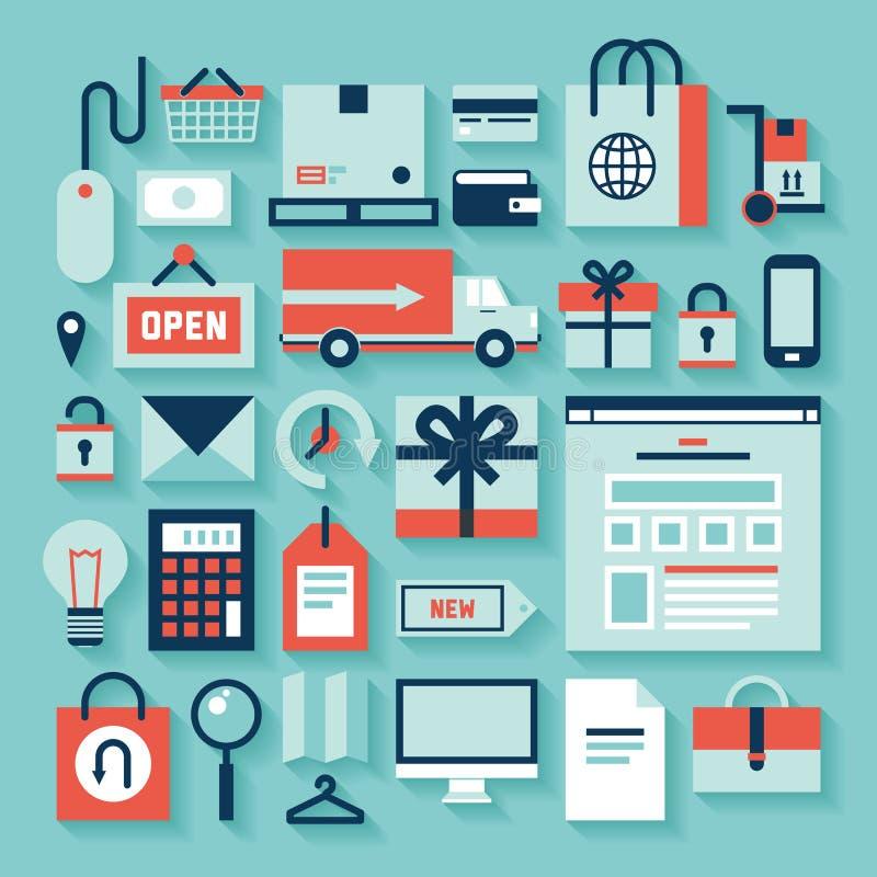 Handlu elektronicznego i zakupy ikony ilustracja wektor