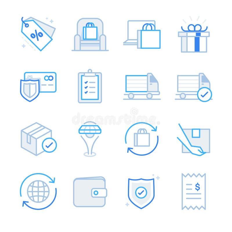 Handlu elektronicznego i zakupy ikony ustawiają 2 royalty ilustracja