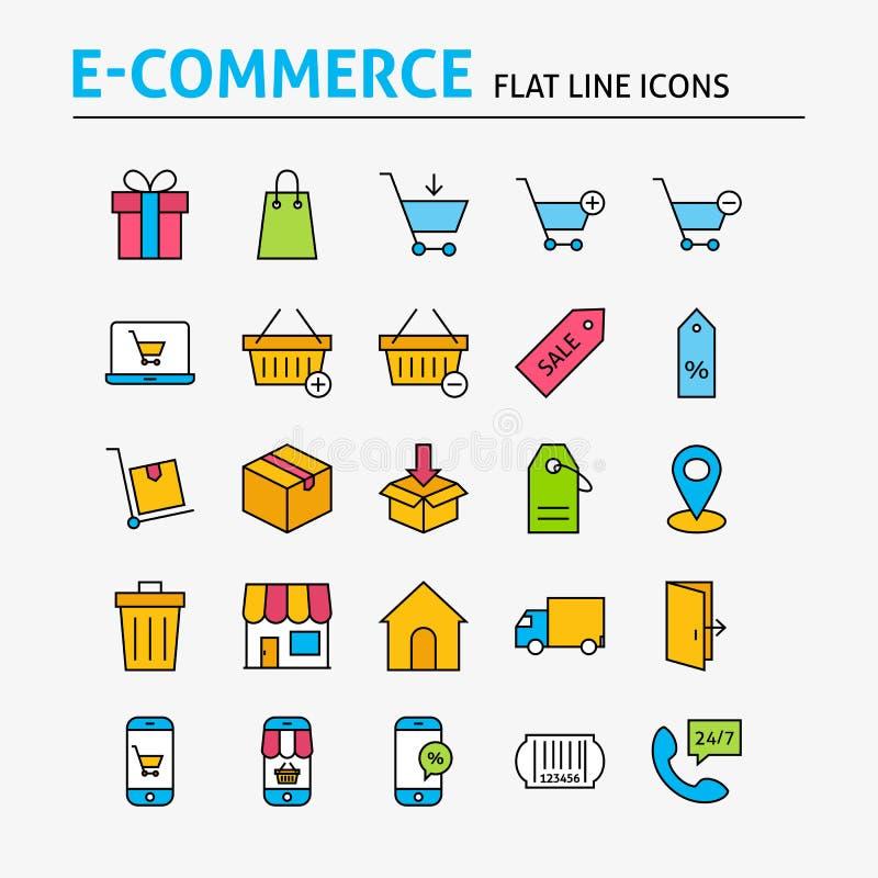 Handlu elektronicznego mieszkania linii Kolorowe ikony Ustawiać ilustracja wektor