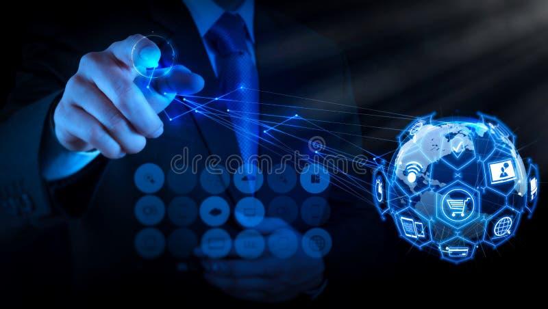 Handlu elektronicznego pojęcie z VR cyfrowym interfejsem z ikonami shopp royalty ilustracja