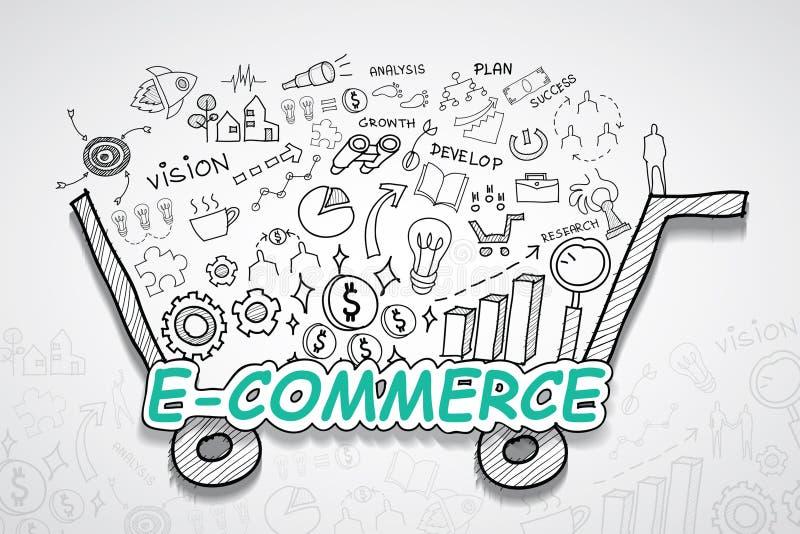 Handlu elektronicznego tekst Z kreatywnie rysunków wykresów i map biznesowego sukcesu strategii planu pomysłem, inspiraci pojęcia ilustracja wektor