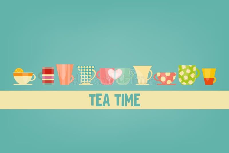 handluje porcelany świeżego porcelanowe truskawek herbatę razem ilustracja wektor