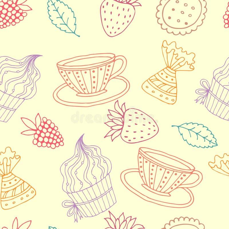 handluje porcelany świeżego porcelanowe truskawek herbatę razem royalty ilustracja