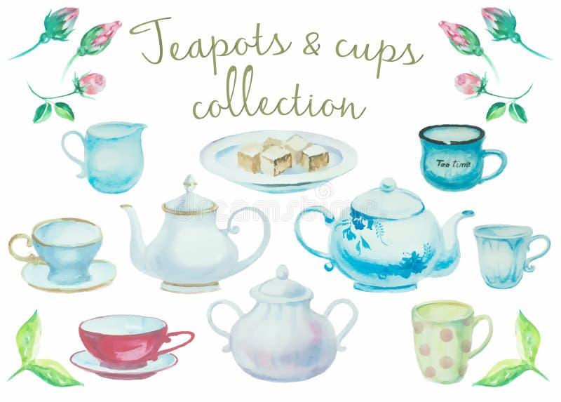 handluje porcelany świeżego porcelanowe truskawek herbatę razem Rocznik i filiżanka szczegółu wysoka kolekcja puszkujemy ilustracji