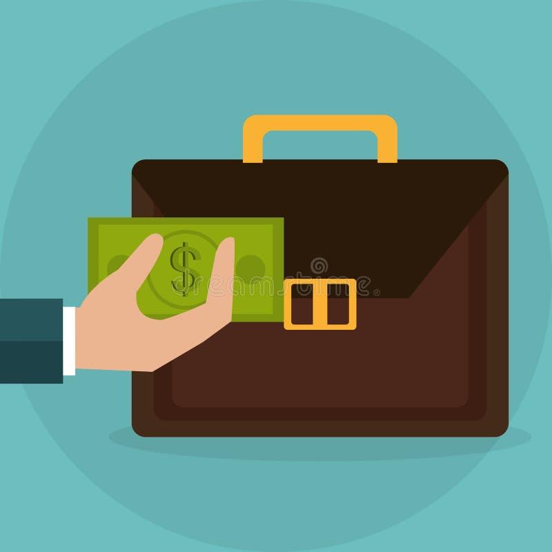 Handlyftande portfölj med räkningdollarpengar royaltyfri illustrationer