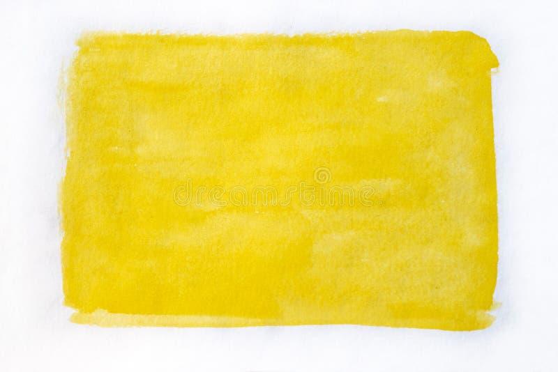 Handmålad gul vattenfärgsbakgrund arkivbild