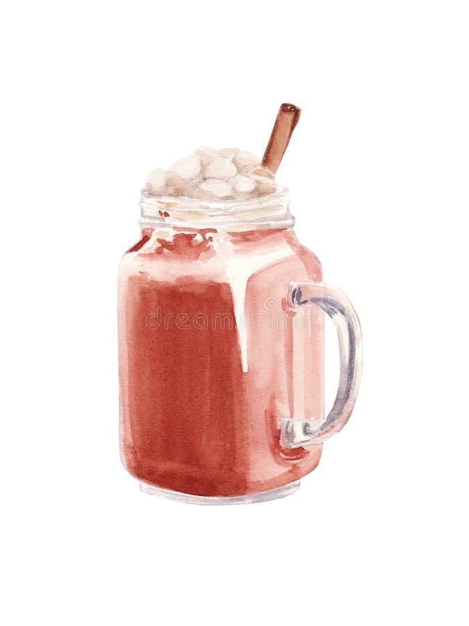 Handmålat glas av varm choklad, kakaokostjärt isolerat på vit bakgrund Illustration av vattenfärg royaltyfri illustrationer