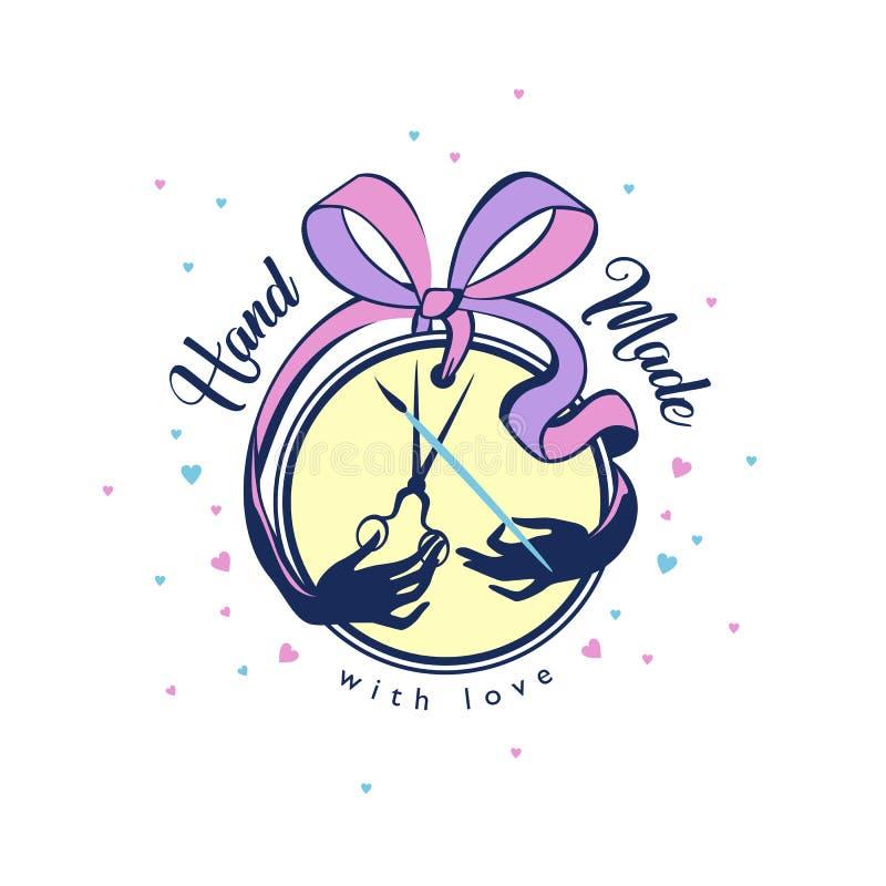 Handmade значок со смычком ленты с ножницами и щеткой для needlewoman белошвейки, творческая личность бесплатная иллюстрация
