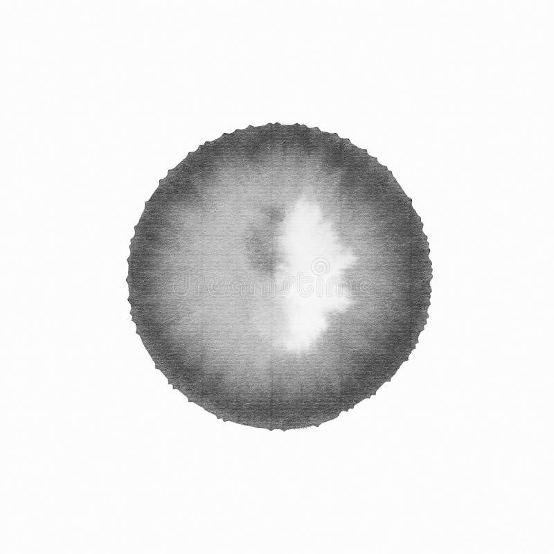 Handmade эскиз щетки черноты чернил чертежа круга на изолированной белизне иллюстрация вектора
