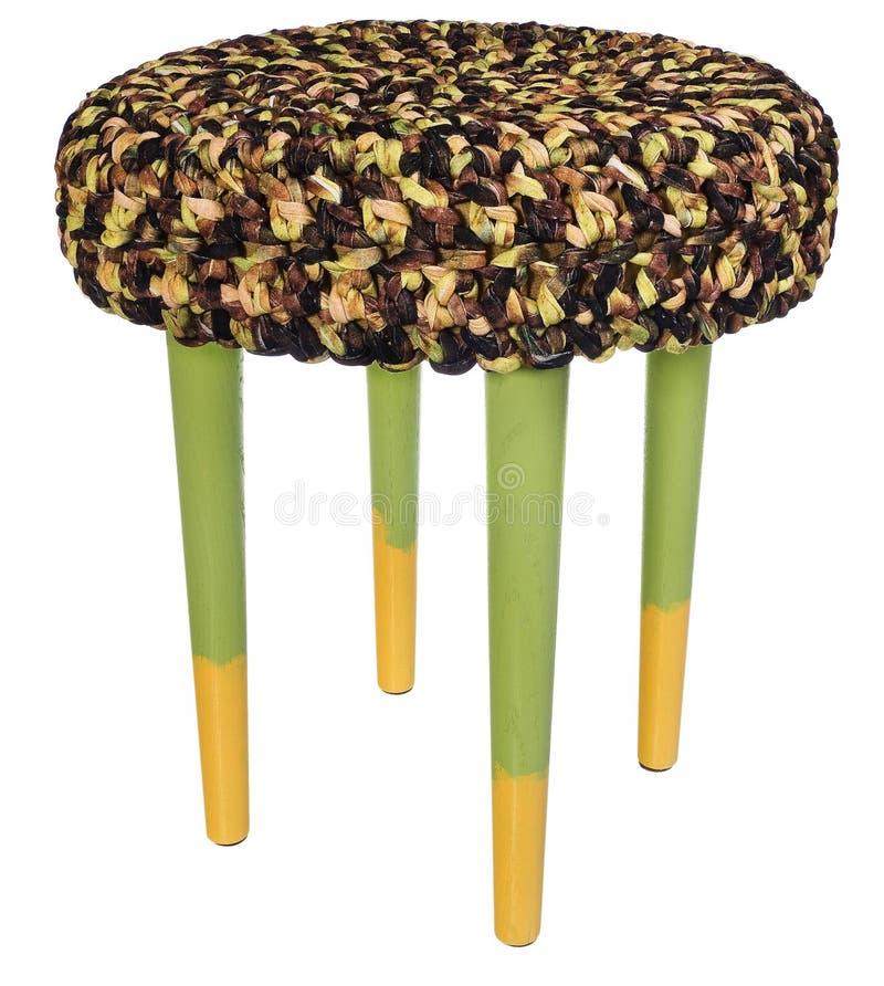 Handmade желтый цвет и зеленый цвет табуретки Круглое место с коричневатым желтым цветом стоковые изображения