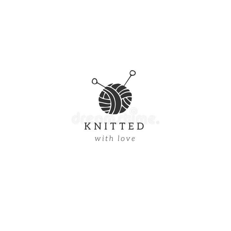 Handmade и вязать тема Шаблон логотипа вектора руки вычерченный с шариком пряжи иллюстрация вектора