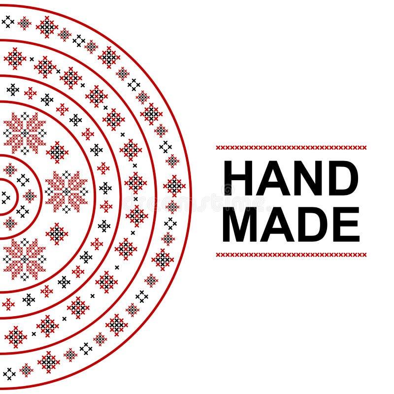 Handmade карточка с традиционным румынским орнаментом иллюстрация вектора