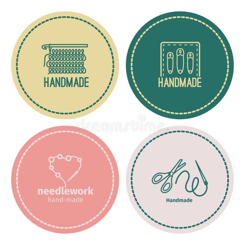 Handmade линия винтажный комплект логотипа иллюстрация штока