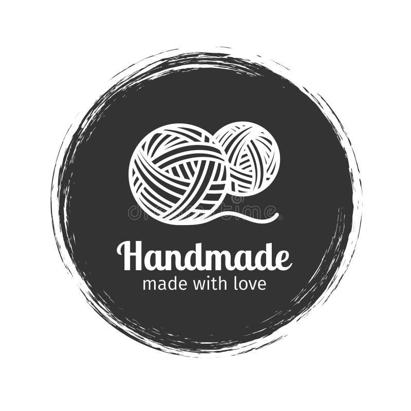Handmade линия логотип года сбора винограда иллюстрация вектора