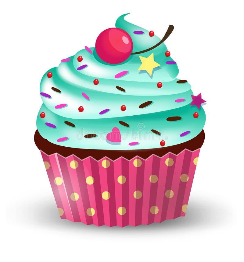 Handmade милый торт чашки шаржа с вишней Vector иллюстрация, зажим-искусство, изолированное на белой предпосылке иллюстрация вектора