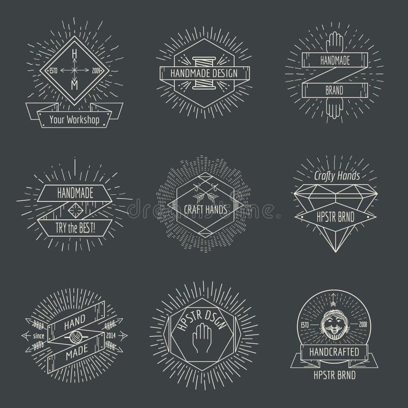 Handmade логотип или комплект вектора эмблем ремесел винтажный иллюстрация штока