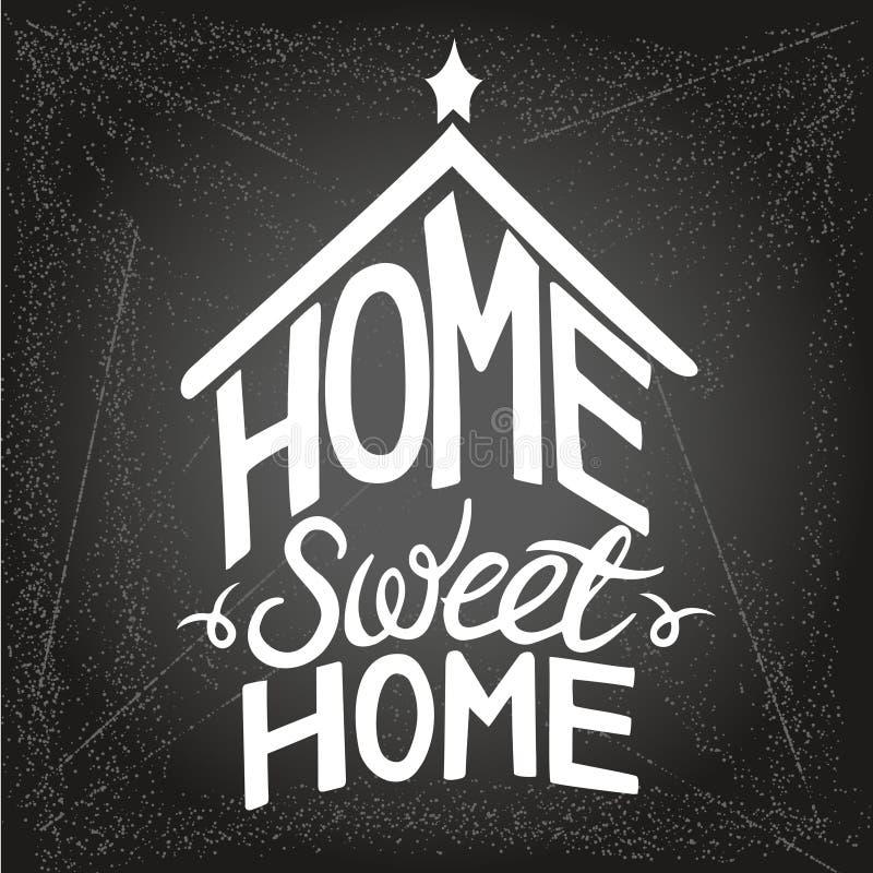 """Handmade помечая буквами цитата """"домашний сладкий дом """"на плакат 1 оформления иллюстрация вектора"""