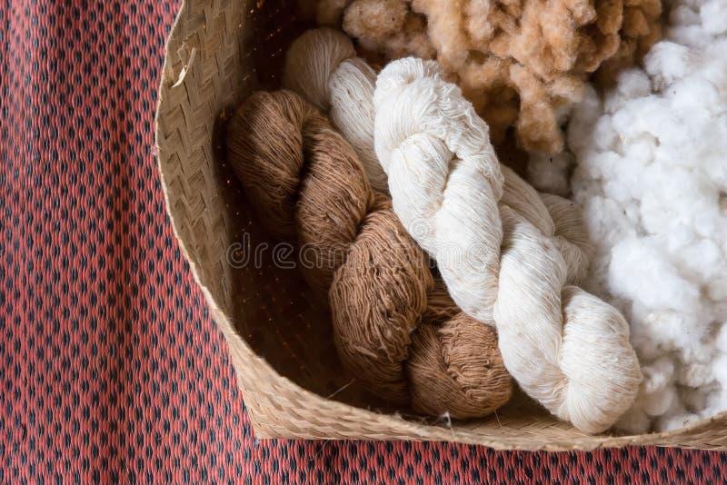 Handmade пряжа от цветка хлопка Хлопок мягкий, пушистый st стоковое изображение