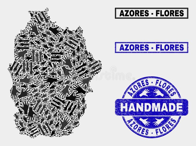 Handmade состав острова Flores карты Азорских островов и уплотнения дистресса иллюстрация штока