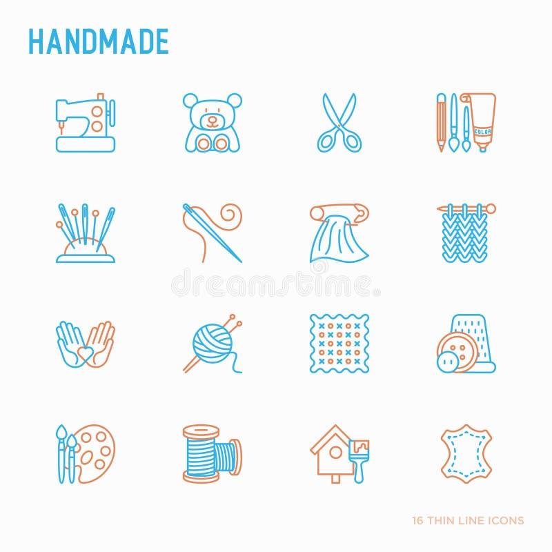 Handmade тонкая линия набор значков: швейная машина, вязать, needlework, чертеж, вышивка, ножницы, потоки, пряжа, штырь r бесплатная иллюстрация