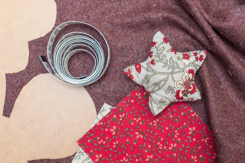 Handmade украшение рождества, звезда сделанная ткани стоковое фото