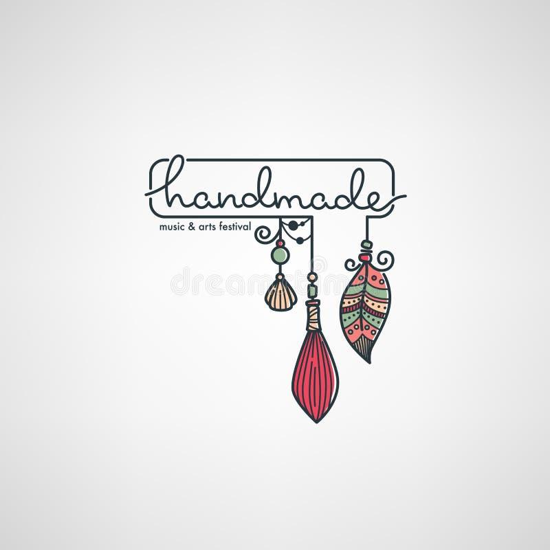 Handmade фестиваль искусств, рука нарисованный логотип doodle, ярлык, эмблема иллюстрация вектора