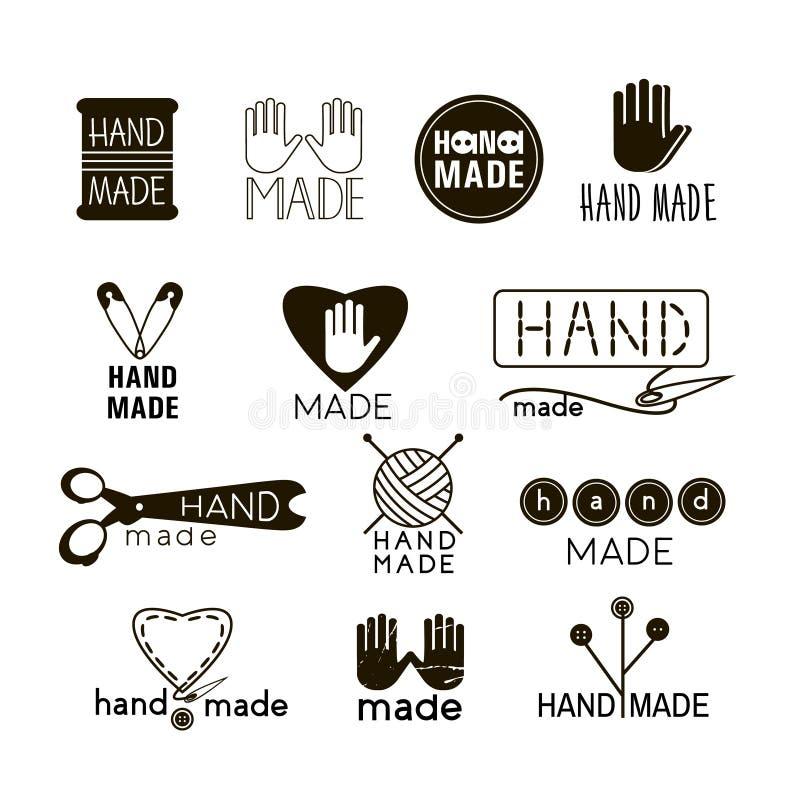 Handmade черная и тонкая линия значки на белизне бесплатная иллюстрация