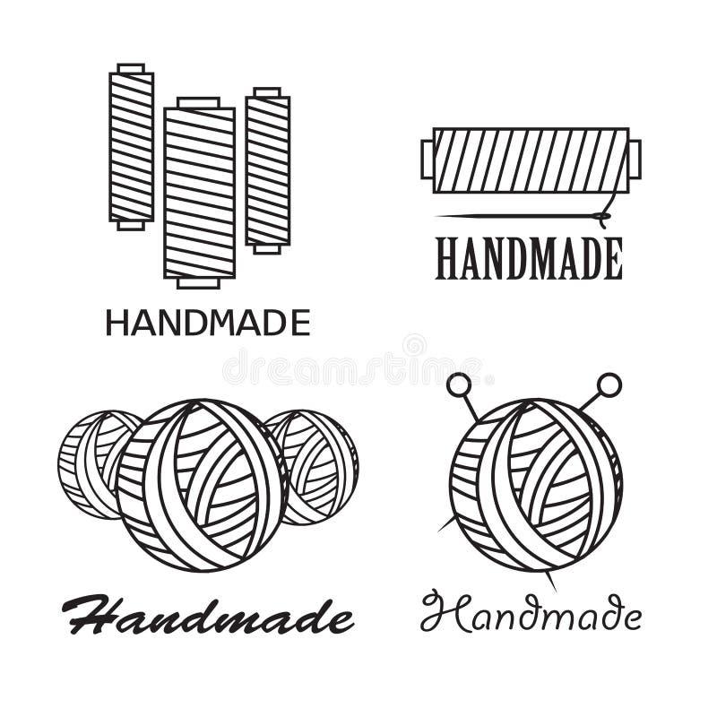 Handmade черная тонкая линия значки на белой предпосылке Handmade комплект логотипа мастерской иллюстрация штока