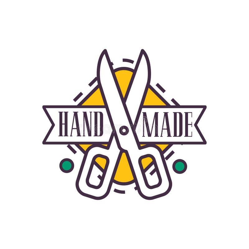 Handmade шаблон логотипа, ретро значок ремесла needlework, иллюстрация вектора элемента ремесленничества иллюстрация штока