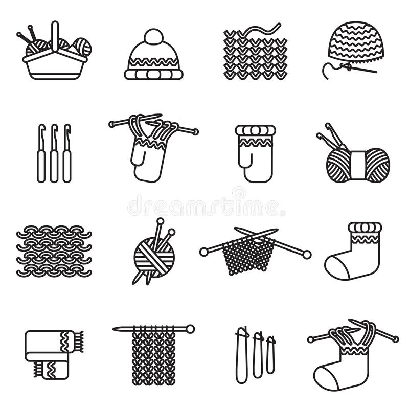 Knitting, crochet, hand made icons set. Thin line style stock vector. vector illustration