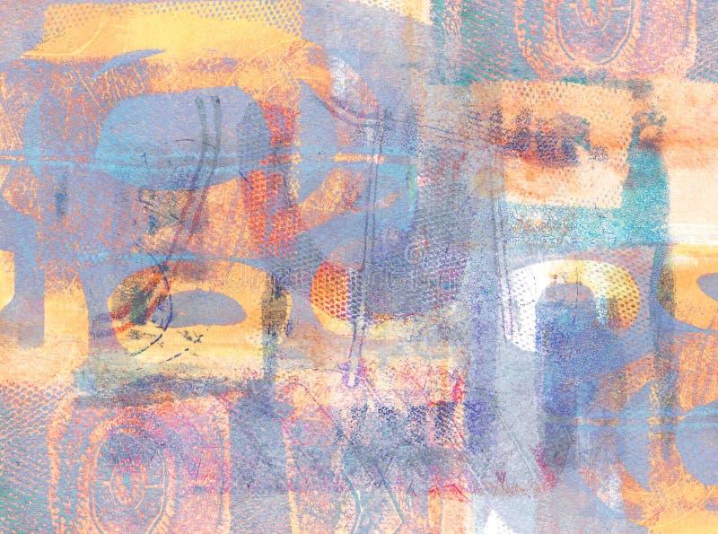 Handmade Abstrakcjonistyczny Akrylowy projekt na Watercolour papieru tle zdjęcie royalty free