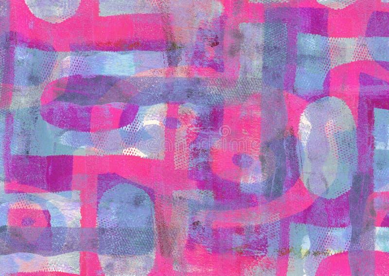Handmade Abstrakcjonistyczny Akrylowy projekt na Watercolour papieru tle fotografia stock