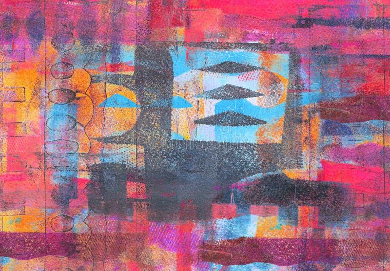 Handmade Abstrakcjonistyczny Akrylowy projekt na Watercolour papieru tle obrazy stock