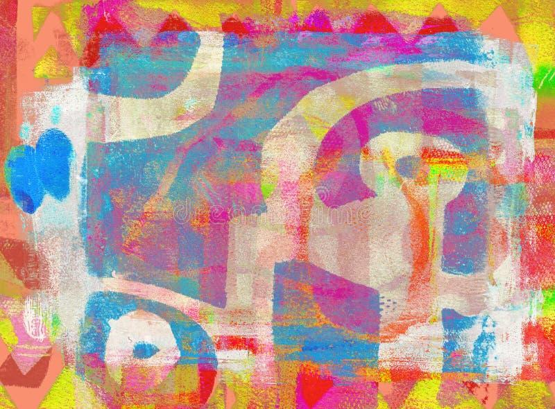 Handmade Abstrakcjonistyczny Akrylowy projekt na Watercolour papieru tle obrazy royalty free