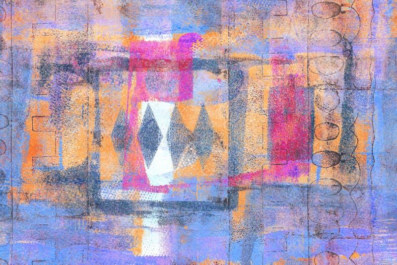 Handmade Abstrakcjonistyczny Akrylowy projekt na Watercolour papieru tle obraz royalty free