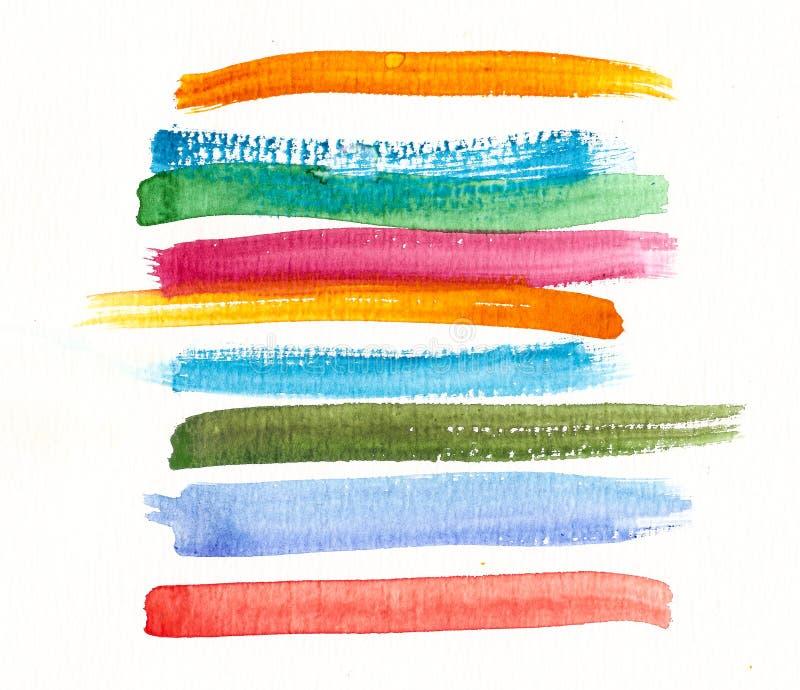 Handmade akwareli muśnięcia kolorowi uderzenia royalty ilustracja