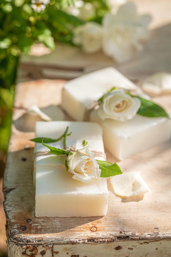 Handmade and aromatic rose soap made of fresh flowers royalty free stock photo
