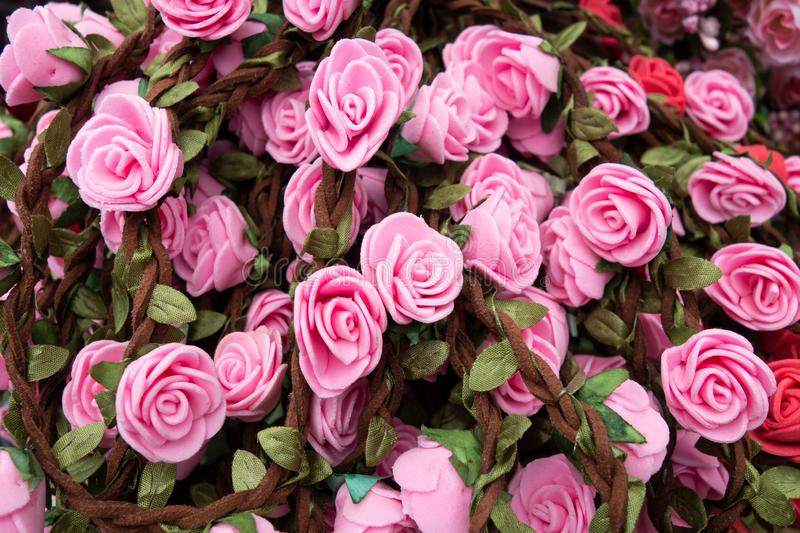 Handmade artificial roses for wreaths on Octoberfest in Munich, close-up. Handmade artificial roses for wreaths on Octoberfest in Munich, close-up royalty free stock photography