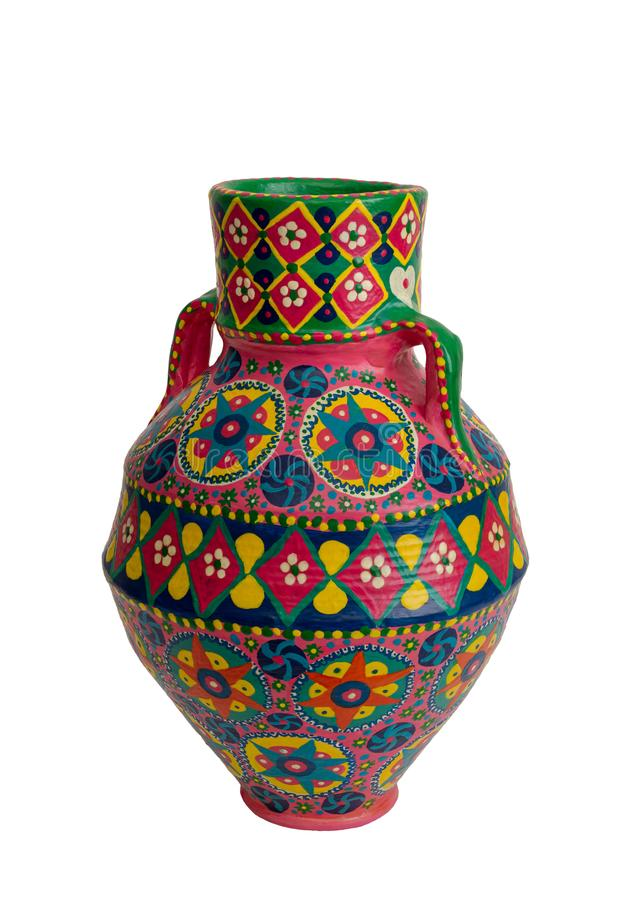 Handmade artistic pained colorful pottery vase isolated on white royalty free stock photos