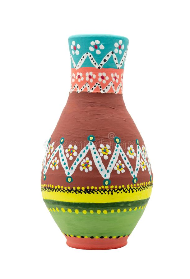 Handmade artistic pained colorful pottery vase isolated on white including clipping path stock photo