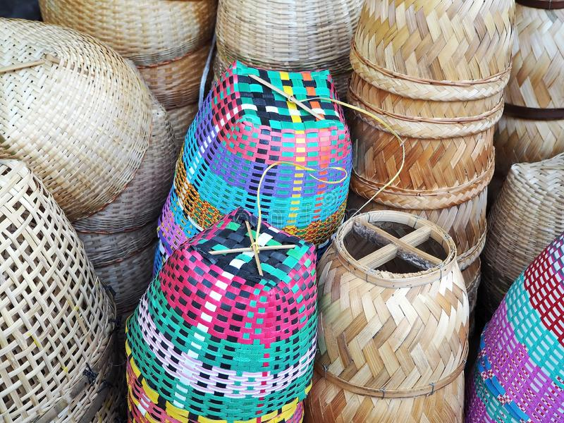 Handmade Asian Bamboo and Plastic Baskets royalty free stock photography