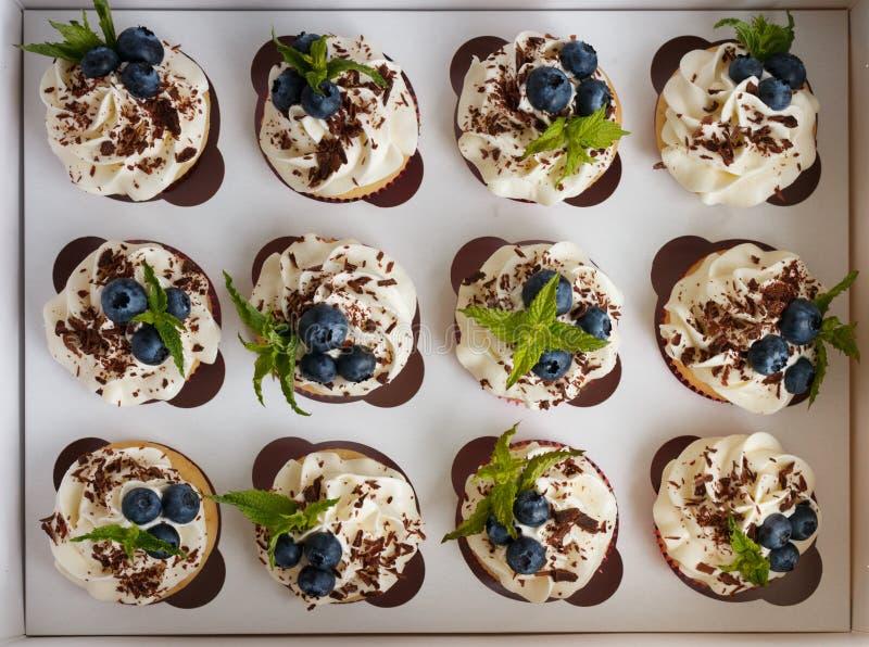 Handmade babeczki z masło śmietanką, kraciastą czekoladą, nowymi liśćmi i czarnymi jagodami w białym pudełku, fotografia royalty free