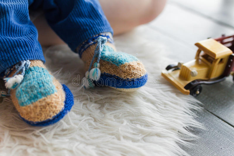 Handmade baby booties royalty free stock photography