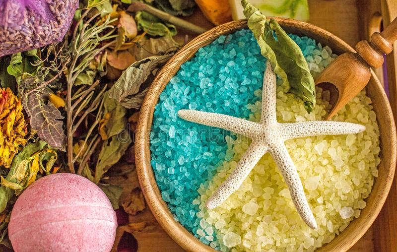 Handmade bath salt with aromatic oils. Cosmetology and spa, handmade salt with bath foam, background about homemade cosmetics stock photography