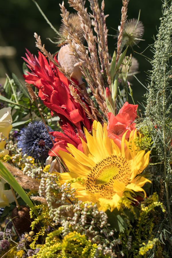 Handmade Beautiful Bouquets From Flowers And Herbs. Stock Image ...