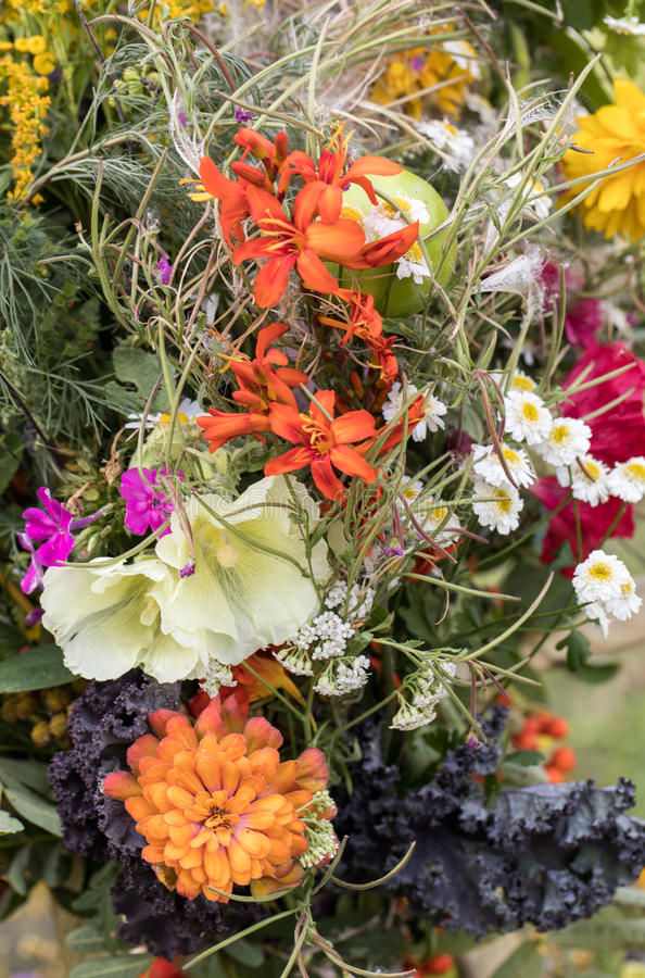 Handmade Beautiful Bouquets From Flowers And Herbs. Stock Photo ...