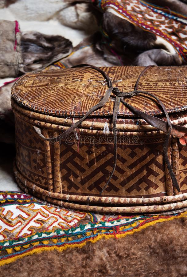 Handmade birch bark box. Products of the nomadic tribe of the Nenets. stock photography