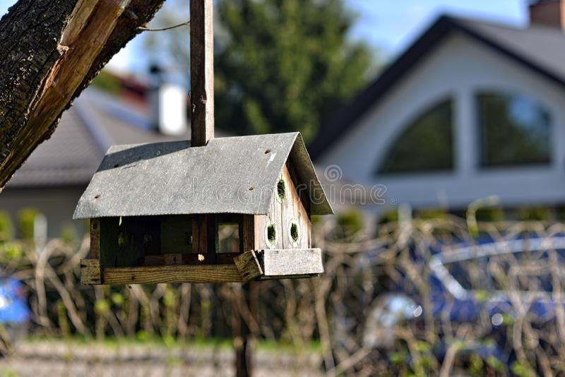 Handmade bird feeder hanging on a tree in the yard - image. Handmade bird feeder hanging on a tree in the yard royalty free stock photo