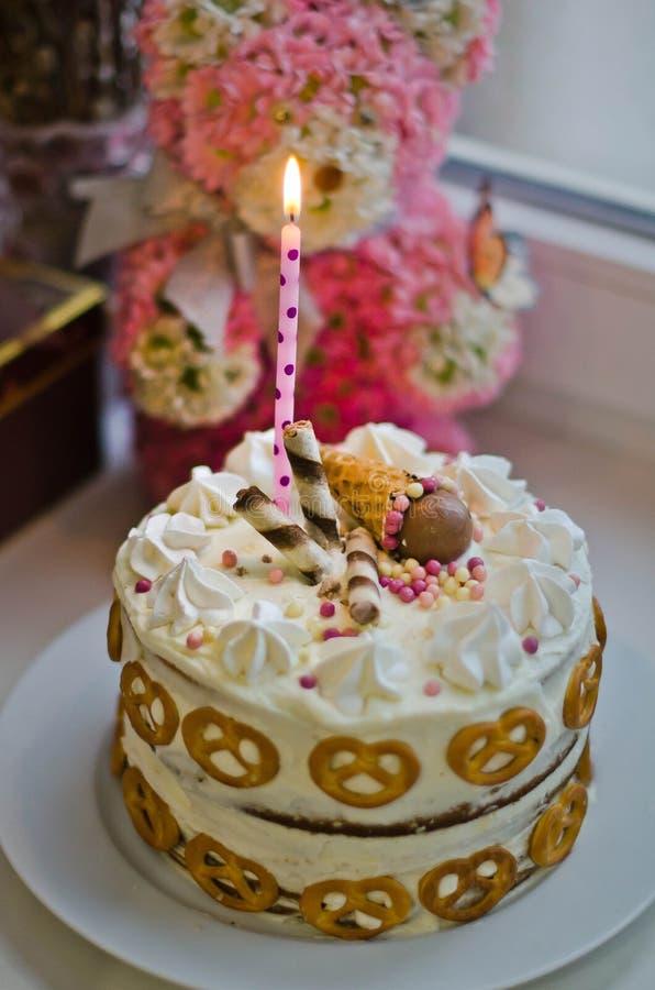 Handmade birthday cake for baby girl. Stock photo of handmade birthday cake for baby girl stock photos