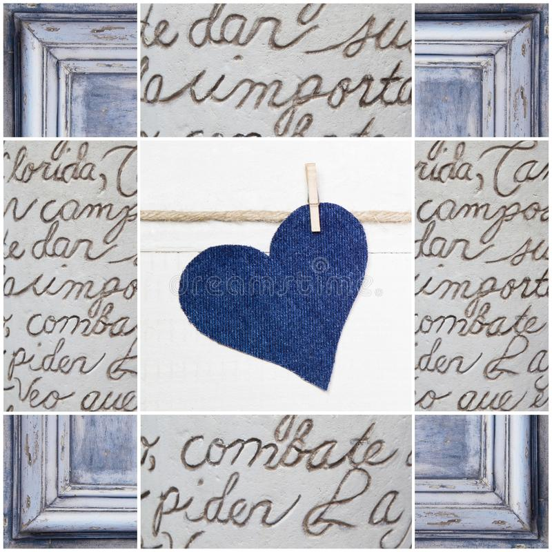 Handmade blue heart shape and wooden frame - handmade - greeting. Card for birthday or card just to say thank you, shabby chic stock photos